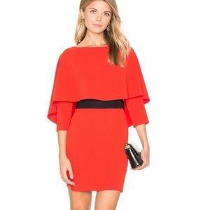 Alice + Olivia Red Cario Cape Popover Dress